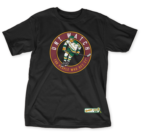 Uni Watch T Shirt Club: Hockey Black T-Shirt Front