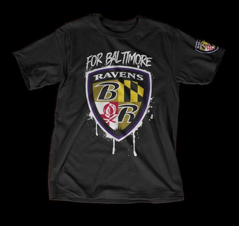 For Balttmore Ravens B R Black T-Shirt Front