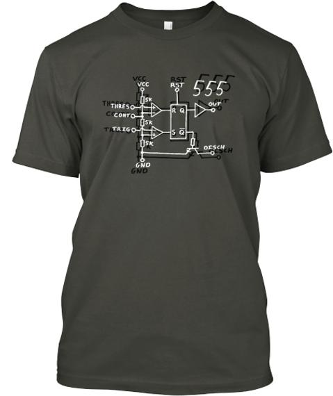 Vcc Rst 555 Sk Thres R Q Out Cont Sk Trig S Q Sk Oisch Gnd  Smoke Gray T-Shirt Front