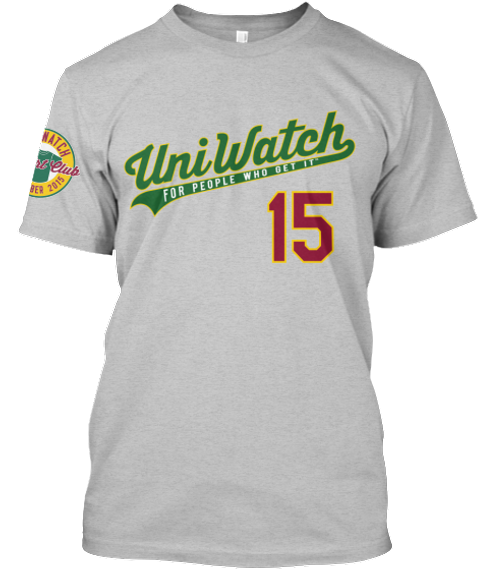 Uni Watch For People Who Get It 15 (On Tshirt) Watch Club 2015 ( On Sleeves ) Light Heather Grey  T-Shirt Front