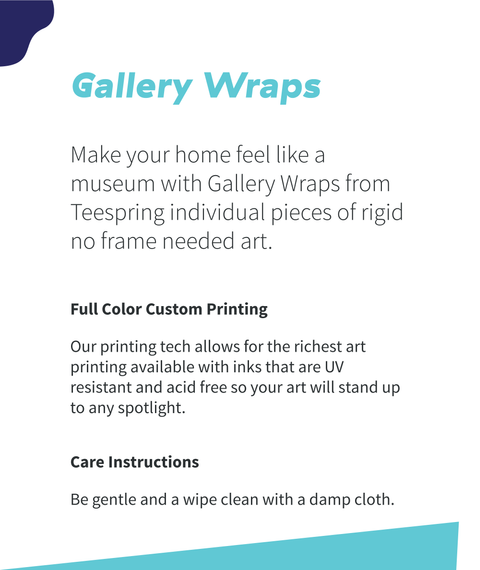 Gallery Wraps Full Color Custom Printing Care Instructions White T-Shirt Back