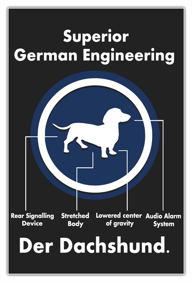 Superior German Engineering Rear Signaling Device Stretched Body Lowered Center Of Gravity Audio Alarm System Der... White T-Shirt Front