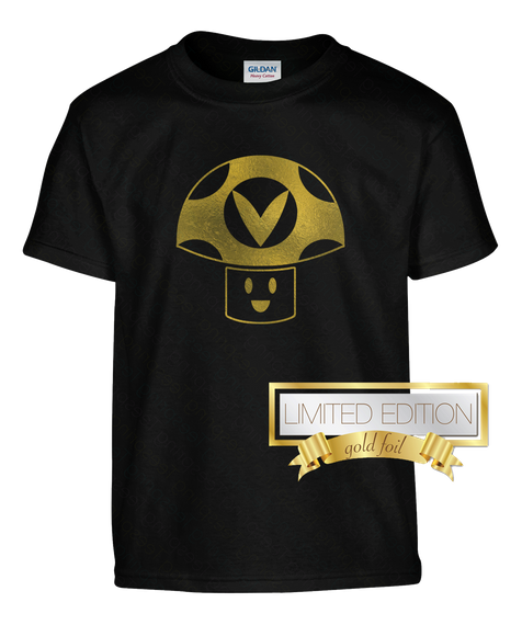 Gold Foil Vinesauce Tee!!! Black T-Shirt Front