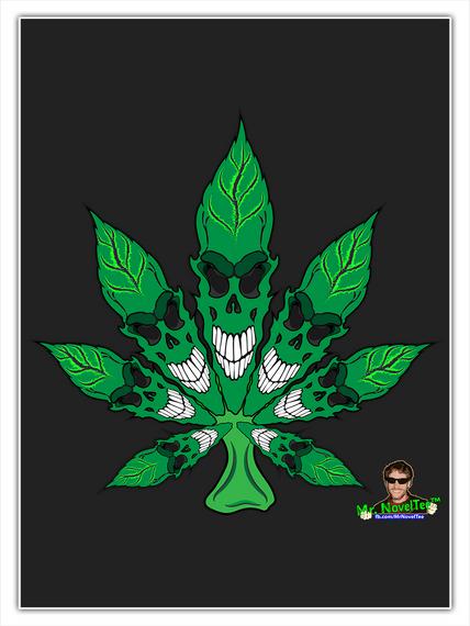 Skull Pot Leaf Standard T-Shirt Front