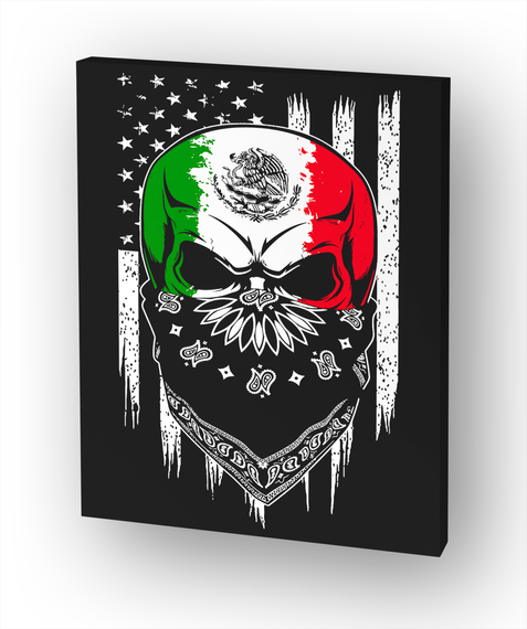 Mexican/American Skull White T-Shirt Front