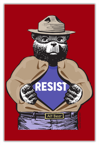 Resist Alt Bear White T-Shirt Front