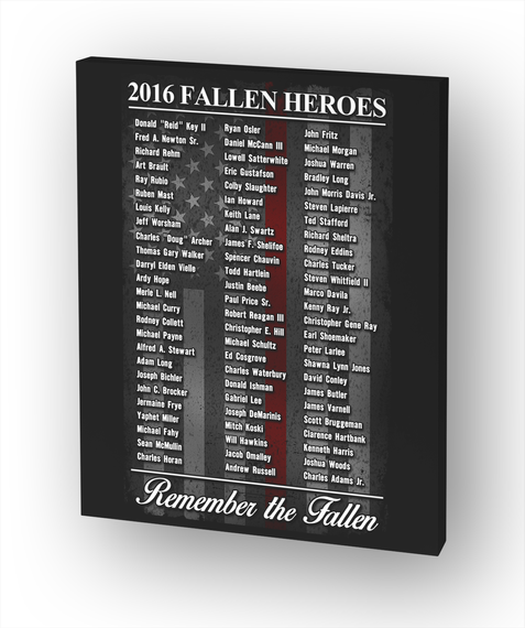 Firefighter 2016 Fallen Heroes Canvas White T-Shirt Front