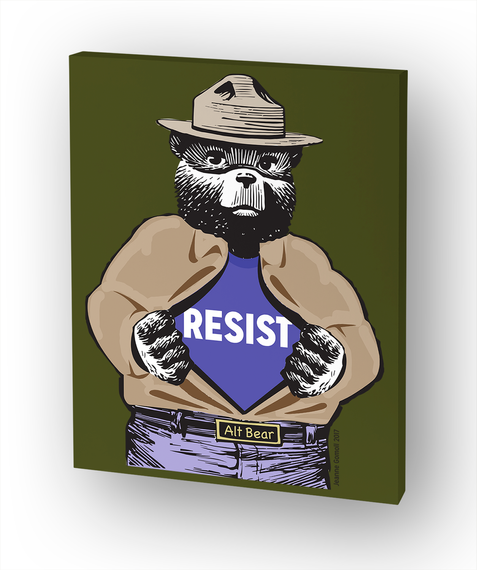 Resist Bear Olive Canvas White T-Shirt Front