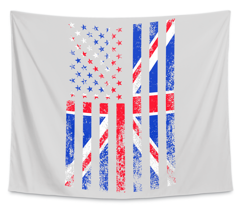Wall Tapestry — Usa + Uk Flag White T-Shirt Front