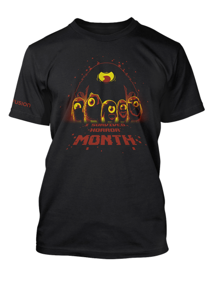 I Survived Horror Month! Official Tee Black T-Shirt Front