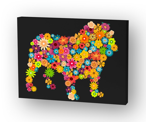 Bulldog Flower Canvas Standard T-Shirt Front