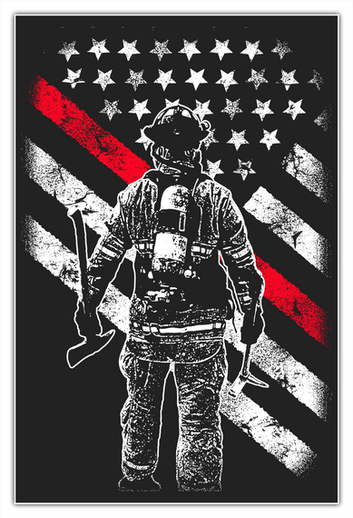 Firefighter Thin Red Line Poster White T-Shirt Front