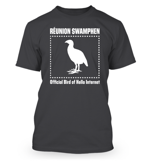 R̩union Swamphen Official Bird Of Hello Internet Heathered Charcoal  T-Shirt Front