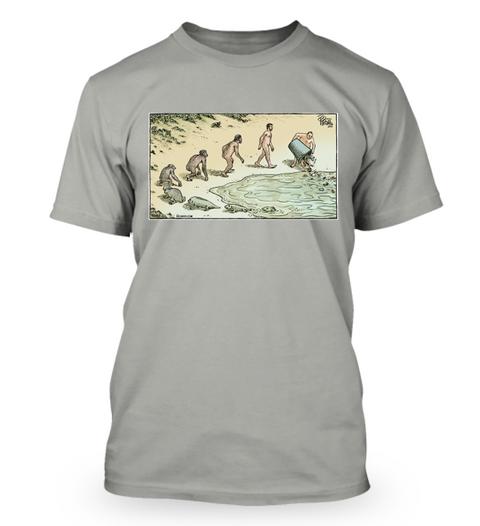 Devolution Cartoon By Dan Piraro Opal T-Shirt Front