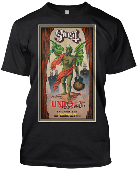 Ghost Unioly Plugged Saturday 8.22 Baltimore The South Garden  Black T-Shirt Front