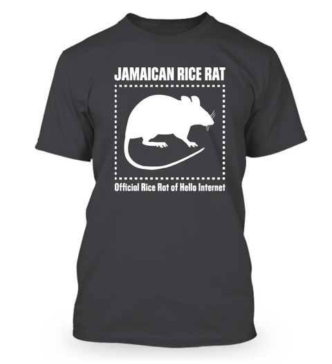 Jamaican Rice Rat Official Rice Rat Of Hello Internet  Heathered Charcoal  T-Shirt Front