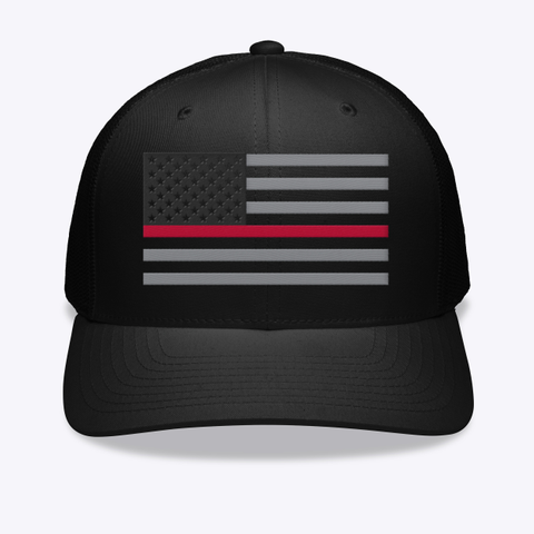 Thin Red Line Embroidered Hat Black T-Shirt Front