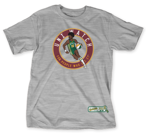 Uni Watch T Shirt Club: Basketball Road Light Heather Grey  T-Shirt Front