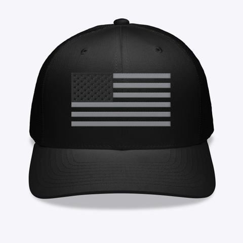 American Flag Onyx Embroidered Hat Black T-Shirt Front