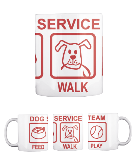 Service Walk Dog Feed Service Walk Team Play White T-Shirt Back