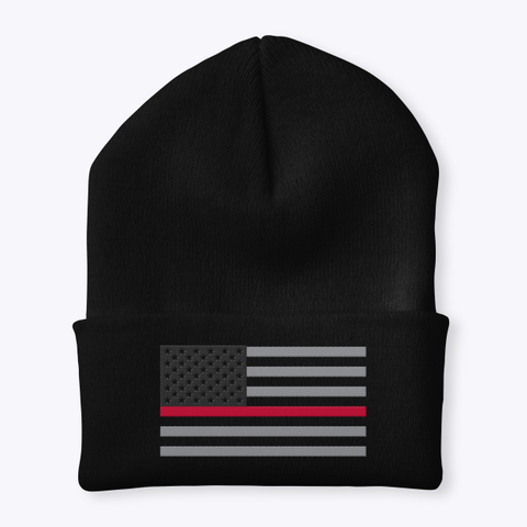 Thin Red Line Cuffed Knit Beanie   Black T-Shirt Front
