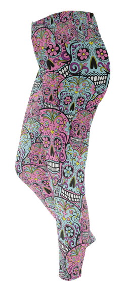 Sugar Skull Leggings Custom Legging T-Shirt Back