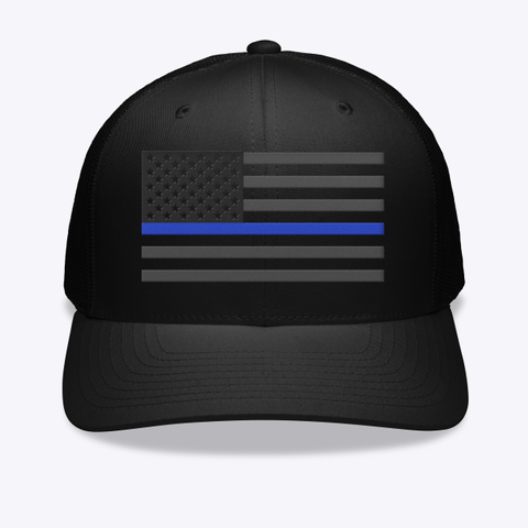 Thin Blue Line Embroidered Hat Black T-Shirt Front