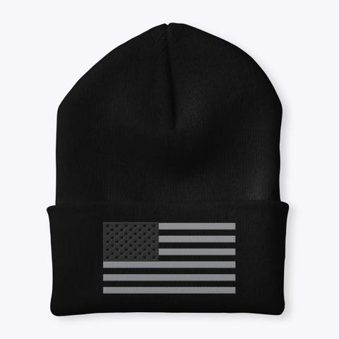 American Flag Onyx Cuffed Knit Beanie Black T-Shirt Front