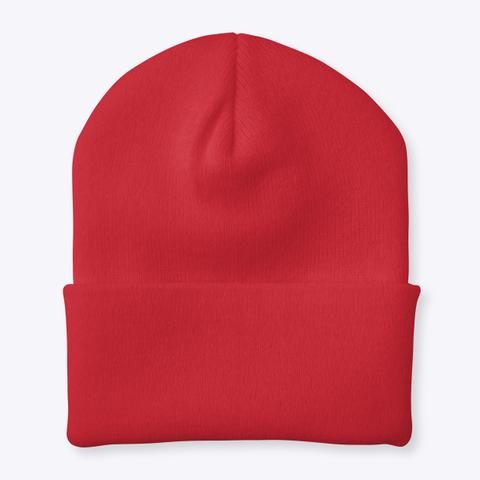 R.E.D. Cuffed Knit Beanie Red T-Shirt Back