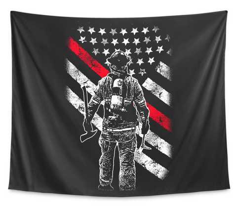 Firefighter Thin Red Line Wall Tapestry White T-Shirt Front