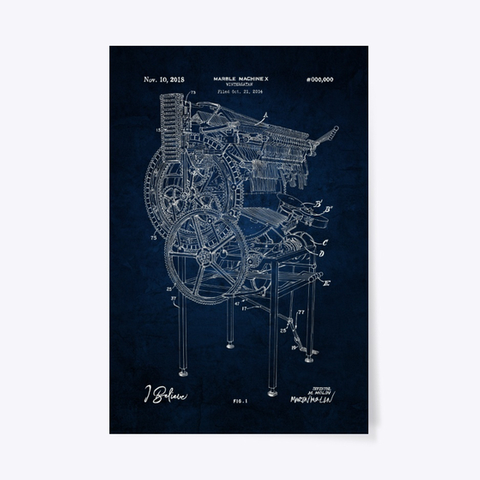Marble Machine X Blueprint Poster - Cosmic Black