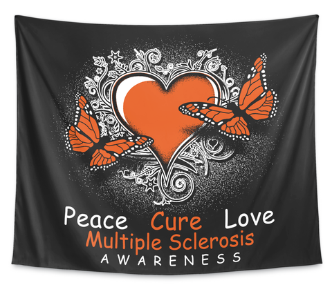 Peace Cure Love Multiple Sclerosis Awareness White T-Shirt Front