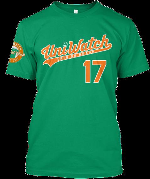 Uni Watch T Shirt Club: St.Patrick's Day Kelly T-Shirt Front
