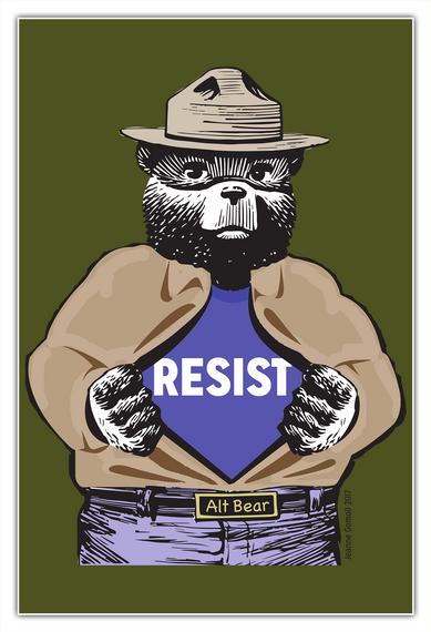 Resist Alt Bear White T-Shirt Front