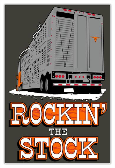 Bull Hauler Rockin' Stock Poster White T-Shirt Front