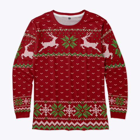Ugly Christmas Leaping Reindeer Red Standard T-Shirt Front