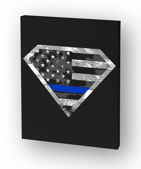 Thin Blue Line Hero Canvas White T-Shirt Front