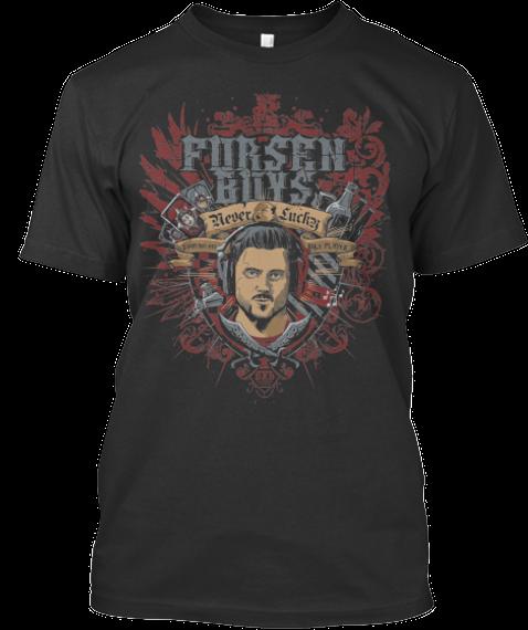 Forsen Coat Of Arms Black T-Shirt Front