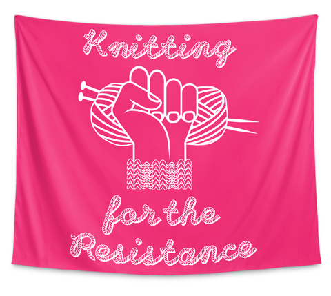 Knitting For The Resistance Large Banner White T-Shirt Front