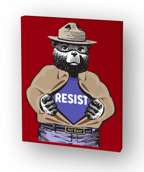 Alt Bear Resists! Small Canvas White T-Shirt Front