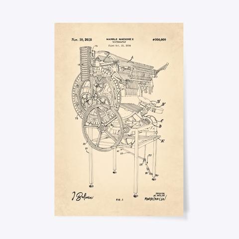Marble Machine X Blueprint Poster   Vintage White Standard T-Shirt Front