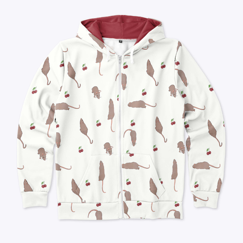 Cherry Rat Zip Hoodie In White Standard T-Shirt Front