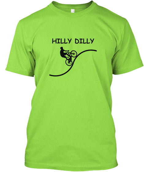 Hilly Dilly Fun Cycling T Shirt Lime T-Shirt Front