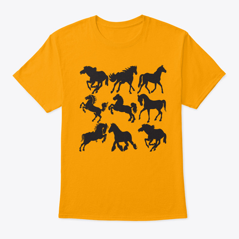 Vintage Nine Horses Pop Art Gold T-Shirt Front