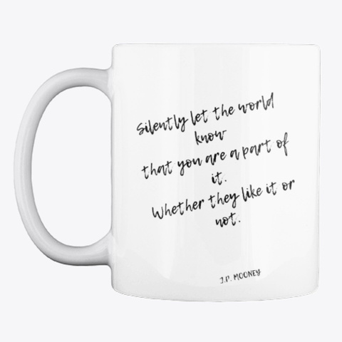 Minimalist Printed Poetry Mug White T-Shirt Front