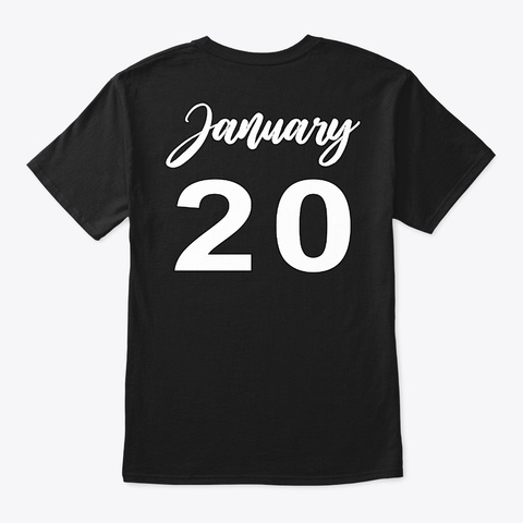 January 20   Aquarius Black T-Shirt Back