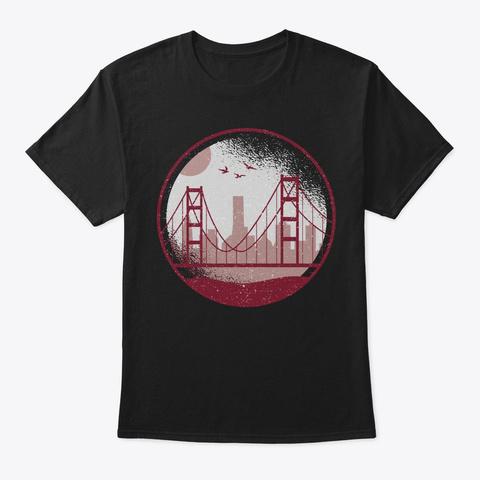California Skyline San Francisco Gift Black T-Shirt Front