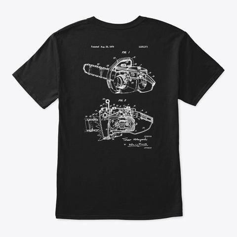 Arborist   Patent Art Chainsaw V2  Black T-Shirt Back