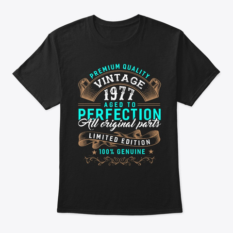 Vintage Born In 1977   Birthday Black T-Shirt Front