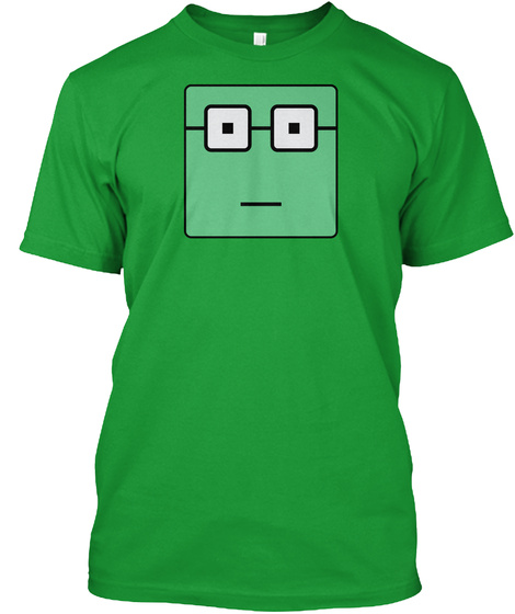 Nerdy Green Square Kelly Green T-Shirt Front